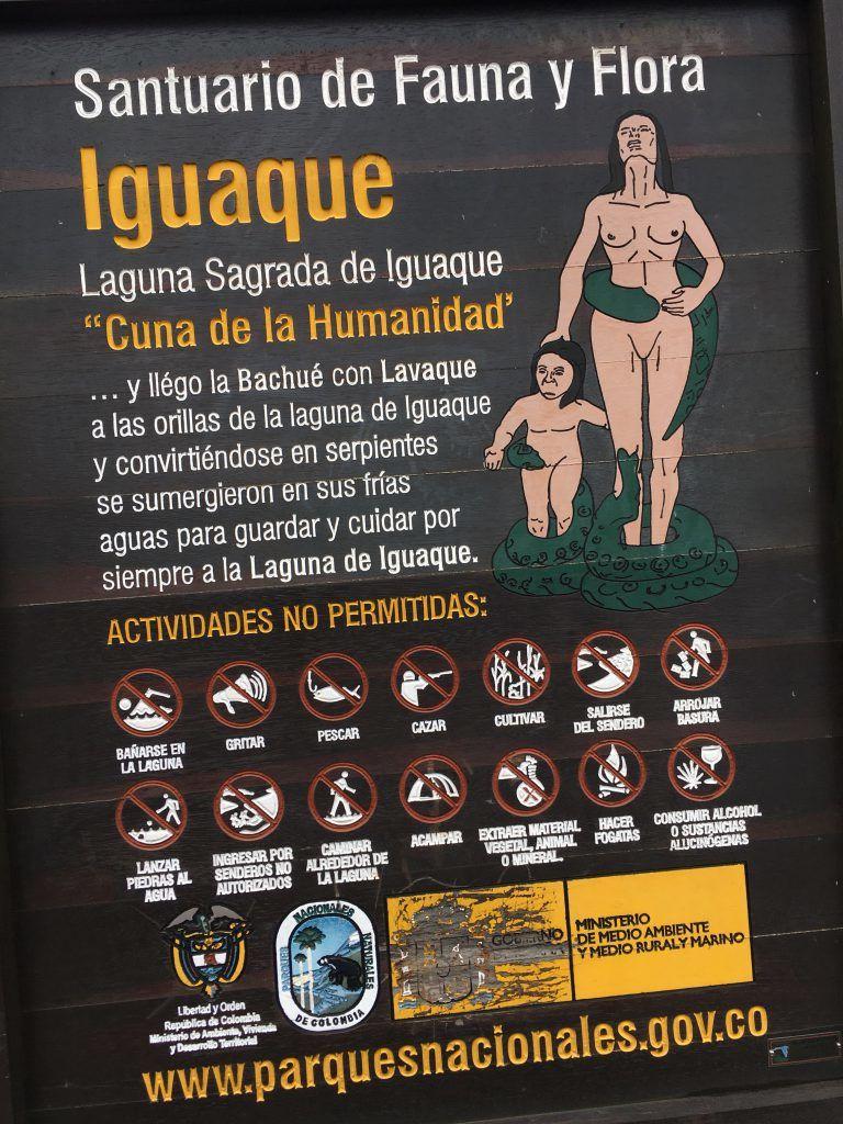 "Hinweisschild zur heiligen Lagune ""Iguaque"""