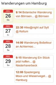 Termine für Wanderungen rund um Hamburg in einer Übersicht