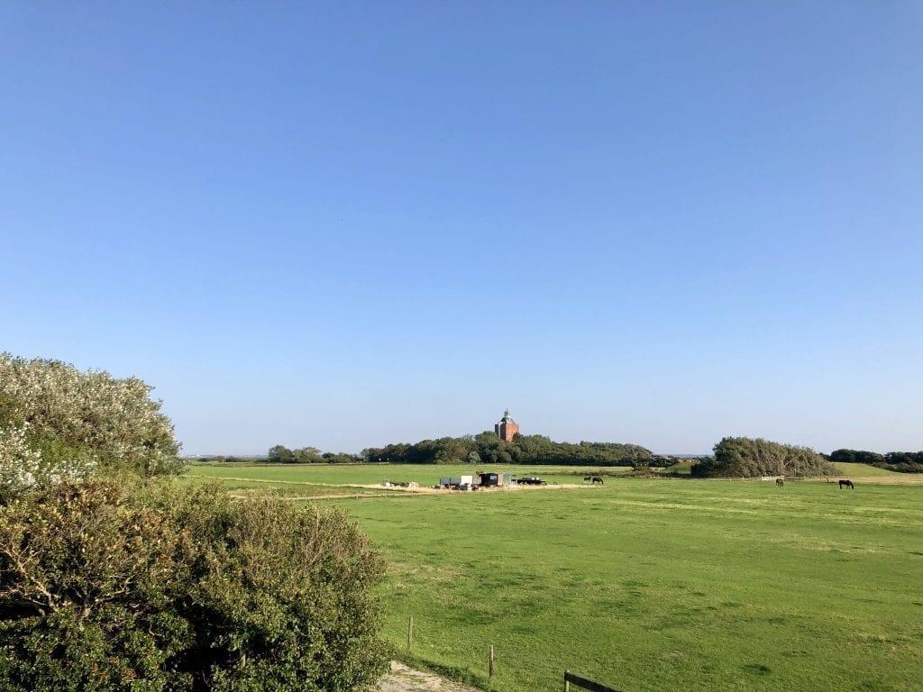 Blick über die Landschaft Neuwerks zum alten Leuchtturm