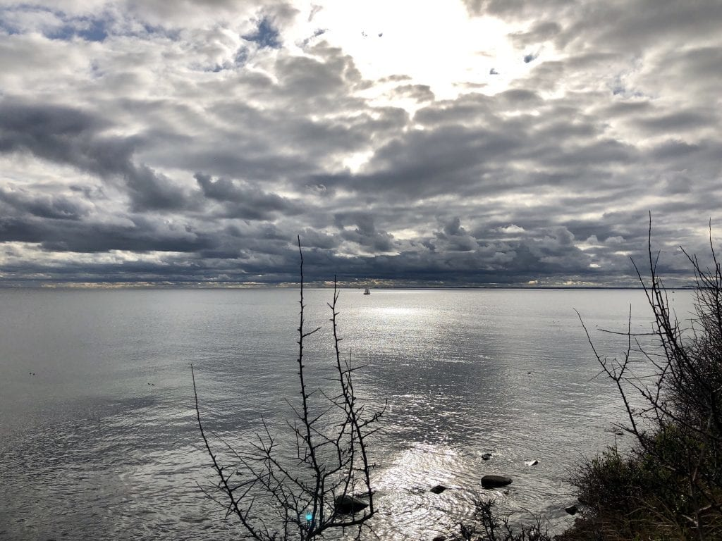 Blick über den Fehmarnsund, östlich von Burgtiefe auf der Wanderung