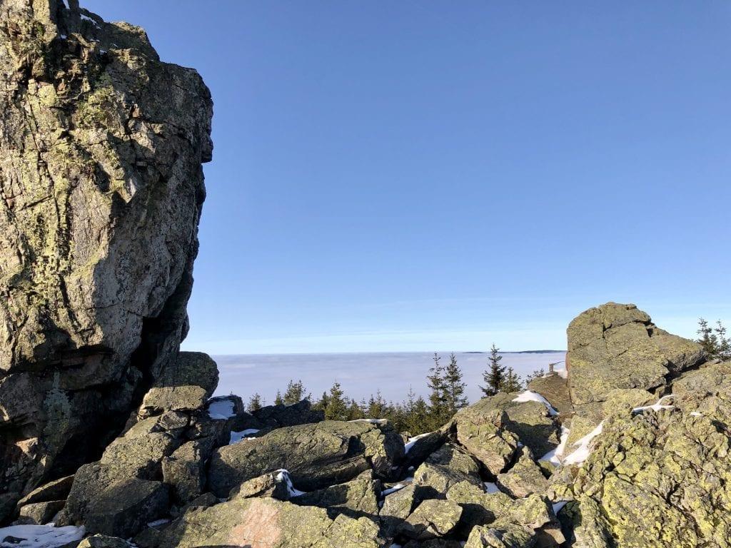 Wandern im Harz - Ausblick von den Hanskühnenburg Klippen