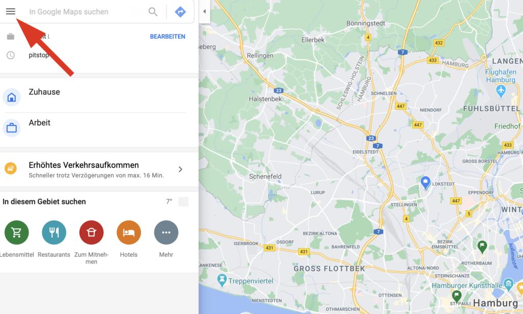 Öffne das Menu in Google Maps