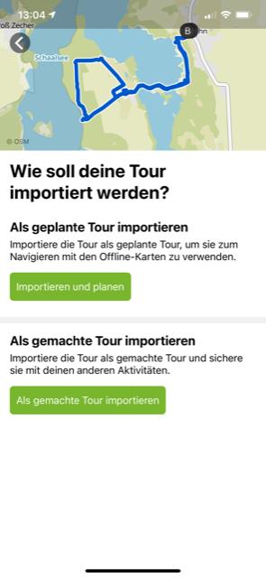 Wähle aus, wie die Tour in komoot importiert werden soll, am besten als geplante Tour