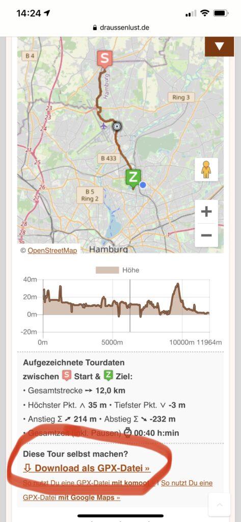 Der Downloadlink für GPX-Dateien auf Draussenlust.de