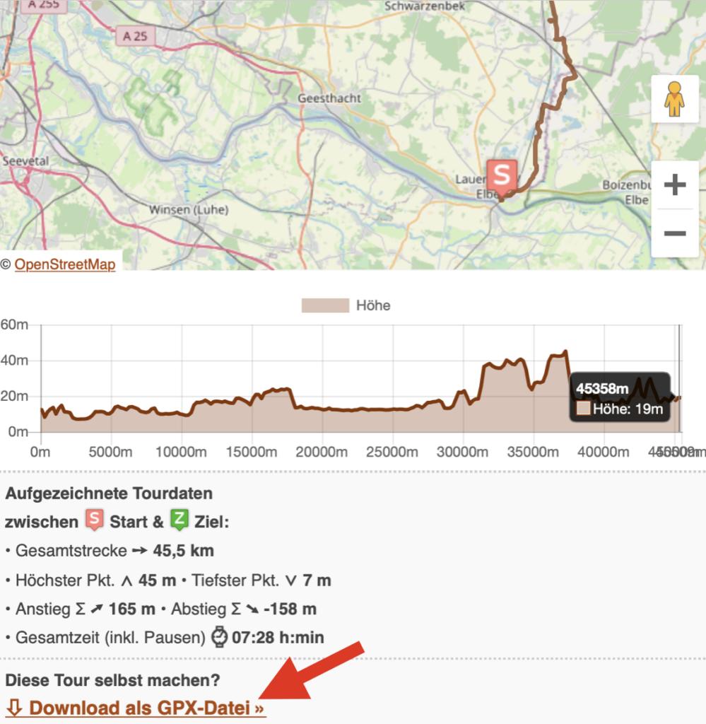 Der Downloadlink für GPX-Tour-Tracks auf Draussenlust.de