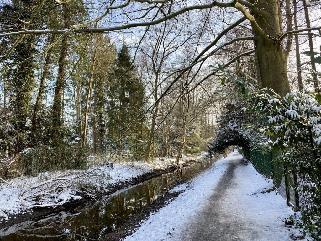 Der Weg an der Tarpenbek zwischen Hamburg-Niendorf und Groß Borstel