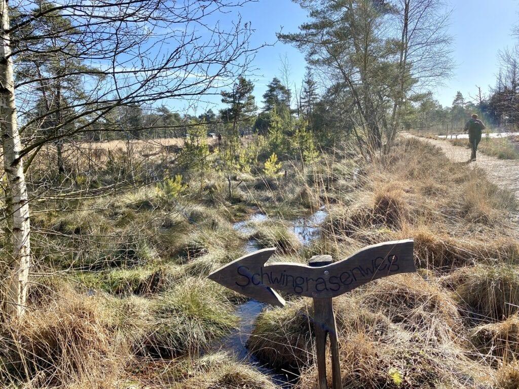 Der Abzweig zum Schwingrasenweg im Tister Bauernmoor