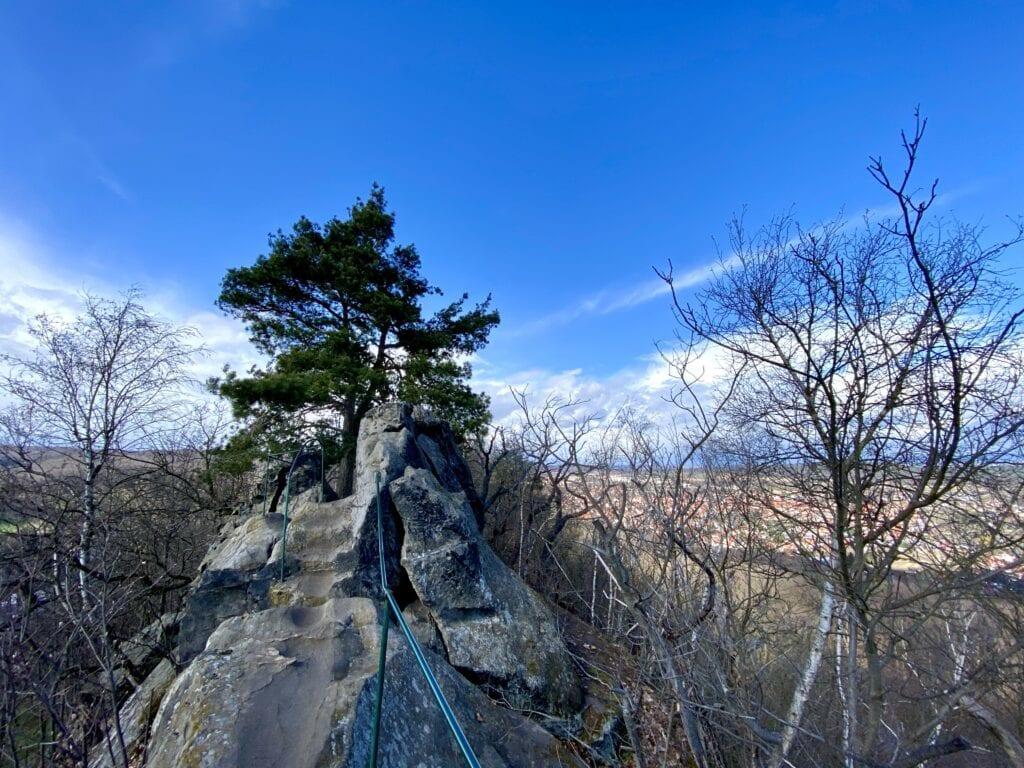 Wanderung im Harz: Auf dem gesicherten Teufelsmauer Kammweg oberhalb von Blankenburg