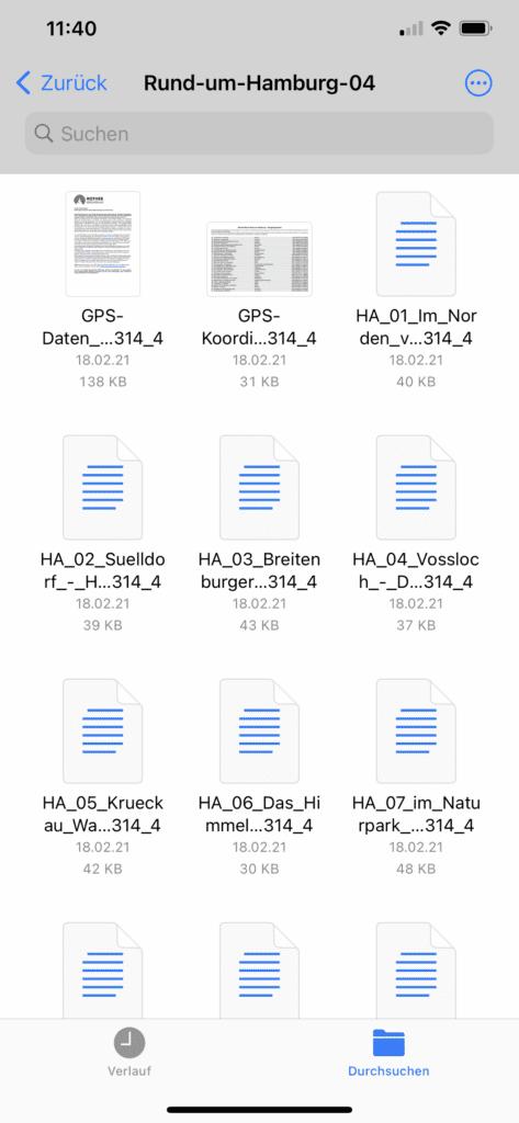 """Die GPX-Datei in der iOS-App """"Dateien"""""""