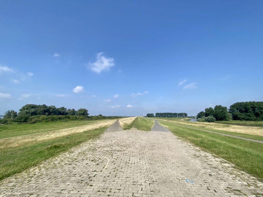 Auf dem Elbdeich bei Wedel - Du hast die Wahl: vor, auf oder hinter dem Deich fahren?